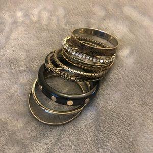 Stack of bracelets.